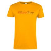 Ladies Gold T Shirt-The Presidents Society Logo