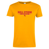 Ladies Gold T Shirt-Roll the Storm