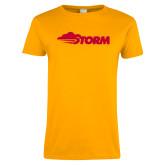 Ladies Gold T Shirt-Storm Secondary Logo