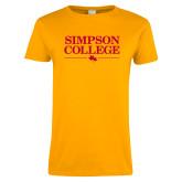 Ladies Gold T Shirt-Simpson College Flat Word Mark