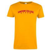 Ladies Gold T Shirt-Simpson College Storm Collegiate