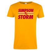 Ladies Gold T Shirt-Simpson Storm Lines Graphic