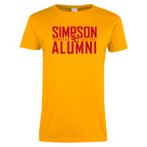 Ladies Gold T Shirt-Simposon Alumni Stacked