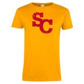 Ladies Gold T Shirt-SC Distressed Logo