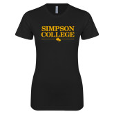 Next Level Ladies SoftStyle Junior Fitted Black Tee-Simpson College Flat Word Mark