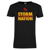 Ladies Black T Shirt-SC Storm Nation
