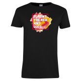 Ladies Black T Shirt-Flaunt the Red and Gold