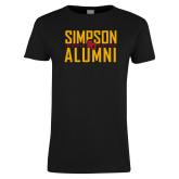 Ladies Black T Shirt-Simposon Alumni Stacked