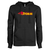 ENZA Ladies Black Fleece Full Zip Hoodie-Simpson College Storm Logo