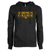 ENZA Ladies Black Fleece Full Zip Hoodie-Simpson College Flat Word Mark