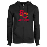ENZA Ladies Black Fleece Full Zip Hoodie-SC Alumni