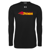 Under Armour Black Long Sleeve Tech Tee-Simpson College Storm Logo