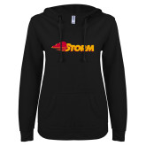 ENZA Ladies Black V Notch Raw Edge Fleece Hoodie-Storm Secondary Logo