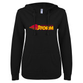 ENZA Ladies Black V Notch Raw Edge Fleece Hoodie-Simpson College Storm Logo