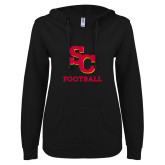 ENZA Ladies Black V Notch Raw Edge Fleece Hoodie-SC Football