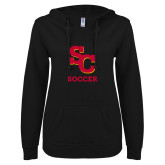 ENZA Ladies Black V Notch Raw Edge Fleece Hoodie-SC Soccer