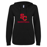 ENZA Ladies Black V Notch Raw Edge Fleece Hoodie-SC Basketball