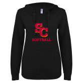 ENZA Ladies Black V Notch Raw Edge Fleece Hoodie-SC Softball