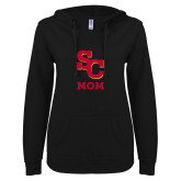 ENZA Ladies Black V Notch Raw Edge Fleece Hoodie-SC Mom