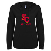 ENZA Ladies Black V Notch Raw Edge Fleece Hoodie-SC Alumni