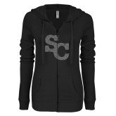 ENZA Ladies Black Light Weight Fleece Full Zip Hoodie-SC Graphite Soft Glitter