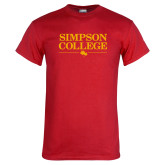 Red T Shirt-Simpson College Flat Word Mark