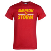 Red T Shirt-Simpson Storm Lines Graphic