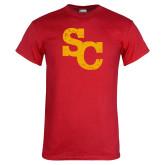 Red T Shirt-SC Distressed Logo