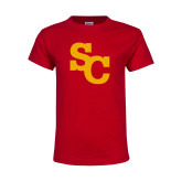 Youth Red T Shirt-SC Interlocking