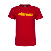 Youth Red T Shirt-Simpson College Storm Logo