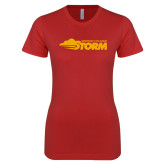 Next Level Ladies SoftStyle Junior Fitted Red Tee-Simpson College Storm Logo