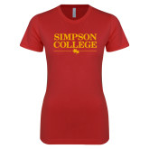 Next Level Ladies SoftStyle Junior Fitted Red Tee-Simpson College Flat Word Mark