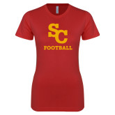 Next Level Ladies SoftStyle Junior Fitted Red Tee-SC Football