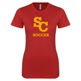 Next Level Ladies SoftStyle Junior Fitted Red Tee-SC Soccer