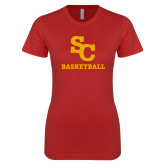 Next Level Ladies SoftStyle Junior Fitted Red Tee-SC Basketball