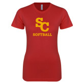 Next Level Ladies SoftStyle Junior Fitted Red Tee-SC Softball