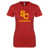 Next Level Ladies SoftStyle Junior Fitted Red Tee-SC Grandma