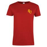 Ladies Red T Shirt-SC Interlocking