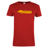 Ladies Red T Shirt-Simpson College Storm Logo