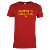 Ladies Red T Shirt-Simpson College Flat Word Mark