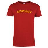 Ladies Red T Shirt-Simpson College Storm Collegiate