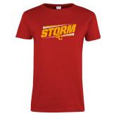 Ladies Red T Shirt-Storm SC Graphic