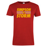 Ladies Red T Shirt-Simpson Storm Lines Graphic