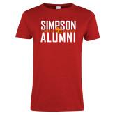 Ladies Red T Shirt-Simposon Alumni Stacked