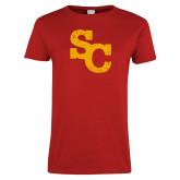 Ladies Red T Shirt-SC Distressed Logo