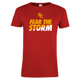 Ladies Red T Shirt-SC Fear the Storm