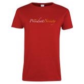 Ladies Red T Shirt-The Presidents Society Logo
