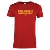 Ladies Red T Shirt-Roll the Storm