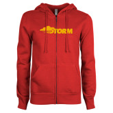 ENZA Ladies Red Fleece Full Zip Hoodie-Storm Secondary Logo