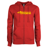 ENZA Ladies Red Fleece Full Zip Hoodie-Simpson College Storm Logo